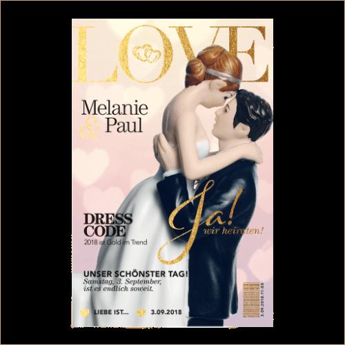 Hochzeitskarte als Love-Magazin 01