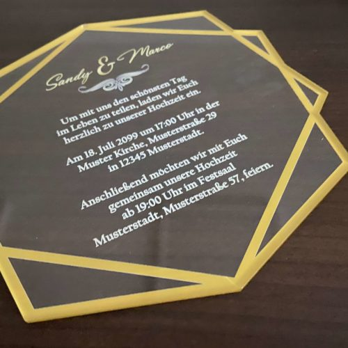 Plexiglas Konturschnitt-Acryl Einladungskarte 02