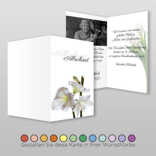Trauerkarte Flower A6h-4Sq