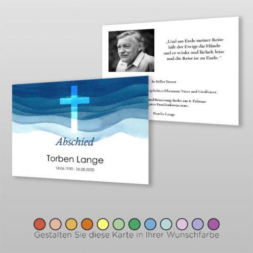 Trauerkarte Aqua A6-2Sq