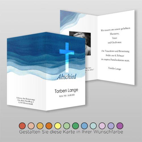 Trauerkarte Aqua A6-4Sh