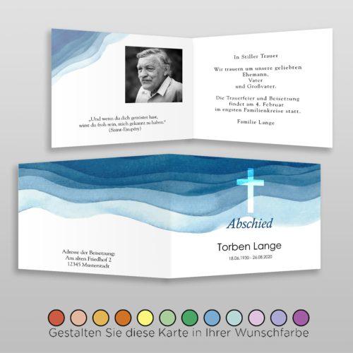 Trauerkarte Aqua A6-4Sq